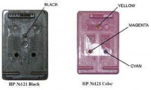 Заправочные отверстия на картриджах HP 121 Black/Color
