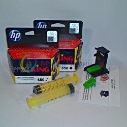 Перезаправляемые картриджи для HP Deskjet Ink Advantage 1515, 2515, 1015, 2545, 2645, 3515, 4645, 3545, 4515 на базе HP 650 (для заправки PUSH-контейнерами Bursten King), заправленные, комплект 2 шт, с заправочной платформой
