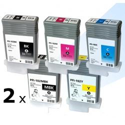 Картриджи для Canon imagePROGRAF iPF650, iPF655, iPF750, iPF755, iPF760, iPF765, (PFI-102/PFI-104) совместимые, набор 6 шт * 130 мл
