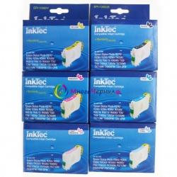Комплект картриджей InkTec для Epson Stylus Photo T50, TX650, T59, RX690, RX610, RX615, RX590, RX650, RX659, TX659, TX700W, TX710W, TX800FW, 1410, R270, R290, 6 шт, неоригинальные