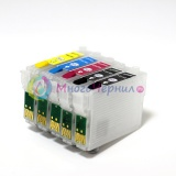 Перезаправляемые картриджи (ПЗК) для Epson WorkForce 30, 1100, 310, 315 (T0691-T0694), с авто-чипами, 5 картриджей
