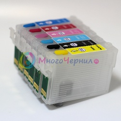 Перезаправляемые картриджи (ПЗК) для Epson Artisan 730, 837, 835, 725, 710, 810, 800, 700 с авто-чипами, 6 шт.