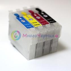 Перезаправляемые картриджи (ПЗК) для Epson TX600FW, TX600, TX600W, 4 картриджа, с чипами