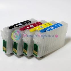 Перезаправляемые картриджи (ПЗК) для Epson SX130, SX125, S22, SX230, SX235W, SX430W, SX438W, SX420W, SX425W, SX435W, SX440W, SX445W, BX305F, BX305FW (T1281-T1284), 4 шт, с чипами