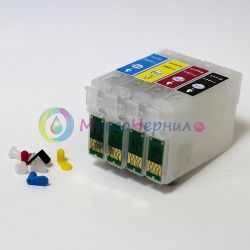 Перезаправляемые картриджи (ПЗК) для МФУ Epson WorkForce WF-7015, WF-7515, WF-7525, WF-3520DWF, Stylus SX525WD, SX535WD, SX620FW, Stylus Office BX305F, BX635FWD, BX525WD, BX625FWD, BX925FWD, BX935WD, B42WD (T1291-T1294), 4 шт. с чипами