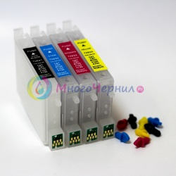 Перезаправляемые картриджи (ПЗК) для Epson Stylus C67, C87, CX3700, CX4100, CX4700, CX5700, CX7700 (T0631, T0632, T0633, T0634), с чипами, комплект 4 шт