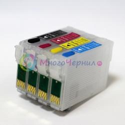 Перезаправляемые (ПЗК) картриджи для Epson Stylus DX4400, DX4450, SX400, DX5000, SX218, SX200, B40W, D92, DX8400, BX300F, DX4000, DX7450, DX6000, DX7400, SX215, DX7000F, S21, DX6050, DX8450, SX205, SX115, SX600FW, SX105, замена СНПЧ, с чипами T0711-T0714