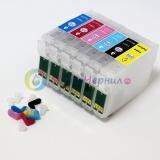 Перезаправляемые картриджи (ПЗК) для Epson Stylus Photo P50, PX650, PX659, PX660, PX720WD, PX820FWD, PX730WD, RX585 (T0801-T0806), комплект 6 шт, с чипами