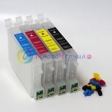 Перезаправляемые картриджи (ПЗК) для Epson R240, R245, R250, RX420, R430, RX425, RX520, RX530 (T0551-T0554), 4 шт, с чипами