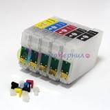 Перезаправляемые картриджи (ПЗК) для Epson PX-1004, PX-1001 (ICM59, ICC59, ICY59, ICBK59*2), 5 штук, с чипами