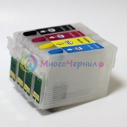 Перезаправляемые картриджи (ПЗК) для Epson Stylus NX400, NX515, NX510, NX200, NX300, NX100, NX415, NX115, NX215, CX5000, CX6000, CX8400, CX7000F, CX7450, CX9400F, CX9400, CX9475 Fax, Workforce 610, 600, 615 (T0691-T0694), с авто-чипами, 4 картриджа