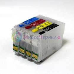 Перезаправляемые картриджи (ПЗК) для Epson Expression Home XP-103, XP-303, XP-207, XP-203, XP-406, XP-306, XP-33, XP-403, XP-313, XP-413, XP-423, XP-323, 4 шт, с чипами