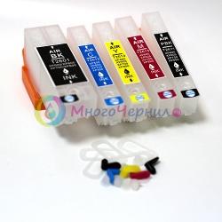 Перезаправляемые картриджи (ПЗК) для Epson Expression Premium XP-7100, XP-630, XP-830, XP-530, XP-900, XP-640, XP-540, XP-645, XP-635 (совм. T3331, T3341-T3344, T3351, T3361-T3364), с авто-чипами (без ограничений), 5 цветов