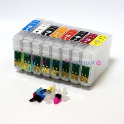 Перезаправляемые картриджи (ПЗК) для EPSON Stylus Photo R1900, 8 шт с чипами