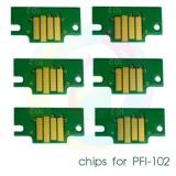 Чипы для картриджей PFI-102 для Canon imagePROGRAF iPF605, iPF710, iPF510, iPF500, iPF600, iPF610, iPF700, iPF720, комплект 6 цветов