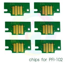 Чипы для картриджей PFI-102 для Canon imagePROGRAF iPF605, iPF710, iPF760, iPF765, iPF510, iPF500, iPF600, iPF610, iPF650, iPF700, iPF720, комплект 6 цветов