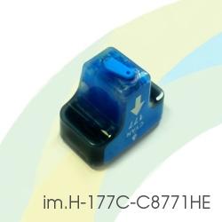 Картридж для HP Photosmart C5183, C6283, D7163, 8253, D7263, C7283, 3213, D7463, 3313, D7363, C6183, C8183, C7183, im.H-177C-C8771HE (HP177) Cyan, совместимый, голубой