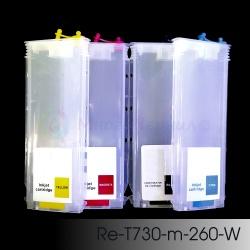 Перезаправляемые картриджи (ПЗК/ДЗК) для HP DesignJet T830, T730 (comp. HP 728), без чипов, 4 x 260 мл