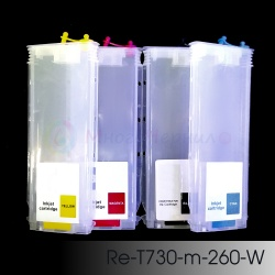 Перезаправляемые картриджи (ПЗК/ДЗК) для HP DesignJet 500, 510, 110, 111, 800, 70, 500PS, 800PS, 110Plus, 100, 110Plus NR, 100plus (карт. HP 10, 11, 82, 84, 85), без чипов, 4 x 260 мл