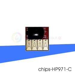 Чип синий (cyan) на картридж № 971 для HP OfficeJet PRO x451dw, x576dw, x476dw, x551dw, x476dn, x451dn, совместимый