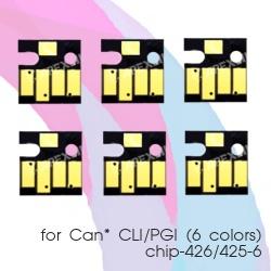 Чипы для Canon PIXMA MG6140, MG8240, MG6240, MG8140, авто обнуляемые для картриджей, ПЗК, СНПЧ, комплект 6 цветов (CLI-426/PGI-425-6)