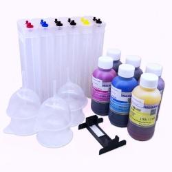 Набор перезаправляемых картриджей (ПЗК/ДЗК) с чернилами для HP DesignJet T790, T795, T610, T2300, T770, T1100, T1300, T1200, T1120, T620 (совм. HP 72), 6 x 260 мл