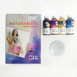 Набор для сублимации (Магнит для сублимации круг 90 мм 10 штук + сублимационные чернила 4 цветов по 100 мл InkTec + бумага для сублимации)