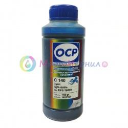 Чернила OCP C 140 Cyan для Epson 1410, P50, T50, TX650, PX660, R270, R290, RX610, R390, 1500W, TX659, PX720WD, RX590, RX690, R295, T59, RX615, XP-960, PX730WD, TX800FW, TX700W, TX710W, XP-860 (T0822, T0802), с повышенной светостойкостью, водные, 100 мл