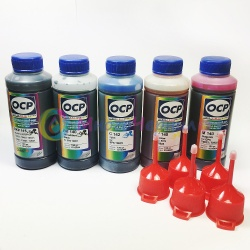 Чернила для Epson Expression Premium XP-640, XP-630, XP-600, XP-830, XP-700, XP-800, XP-610, XP-810, XP-605, XP-820, XP-620, XP-530, XP-710, XP-520, XP-6000, XP-900, XP-6100, XP-510, XP-6005, XP-540, XP-625, OCP пигментные + водные, комплект 5 х 100 мл