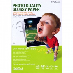 Фотобумага высокоглянцевая односторонняя (суперглянцевая), А4 (21х29,7), InkTec ITP-100LEP, 190 г/м2, 100 листов
