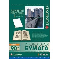 Фотобумага самоклеящаяся матовая односторонняя 90 г/м2, A4, 25 листов (Lomond)