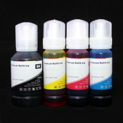 Чернила для Epson L4160, L4150, L4167, L6160, L6170, L6190, ET-2700, ET-2750, ET-3700 Series, ET-3750, ET-4550, ET-4750, ET-16500 (Фабрика Печати Ecotank), InkStar пигментные + водорастворимые, 1x127 + 3x70 мл, неоригинальные с KeyLock, комплект 4 цвета