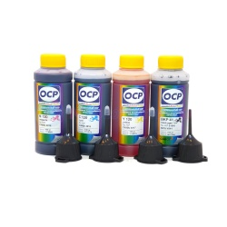 Комплект чернил OCP для HP Designjet 111, 100, 110, 70, Business Inkjet 2800, 1200, 1000, 2200, 2600, Officejet Pro k850, Color InkJet CP1700 (картриджи HP 10 и HP 11), пигмент + водные, 4 x 100 мл
