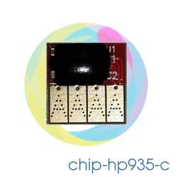 Чип 935 Cyan для перезаправляемых картриджей (ПЗК) и СНПЧ для HP Officejet Pro 6230, 6830, 6815, 6835 (под HP 935, голубой)