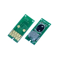 Чип для памперса T6711 к Epson L1455, WorkForce WF-7610DWF, WF-7620DTWF, WF-7110DTW, WF-7720DTWF, WF-7510, WF-3620, WF-3640, WF-3540, ET-16500, не обнуляемый, одноразовый (для ёмкости с отработанными чернилами C13T671100)
