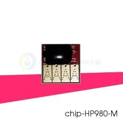 Чип красный (magenta) на картридж № 980 для HP Officejet Enterprise X585z, Color X555dn, X555xh, X585dn, X585f, совместимый
