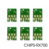 Чипы для картриджей ПЗК и СНПЧ к Epson Stylus Photo RX700 (T5591, T5592, T5593, T5594, T5595, T5596), авто обнуляемые, 6 цветов