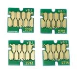Чипы для перезаправляемых картриджей (ПЗК/ДЗК) к Epson Workforce WF-3620DWF, WF-3640DTWF, WF-7110DTW, WF-7610DWF, WF-7620DTWF (картриджи T2711-T2714, T2701-T2704, T2791), автоматически обнуляемые, короткие платы, комплект 4 цвета