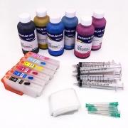 Набор перезаправляемых картриджей с чернилами для Epson Expression Photo XP-55, XP-960, XP-970, XP-860, XP-750, XP-760, XP-950, XP-850 (ПЗК аналог T24 Европа), с InkTec водными 6 по 100 мл