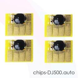 Чипы для картриджей HP Designjet 500, 800, 500PS, 800PS, 815, 820 (картриджи HP 82 и 10), автоматически обнуляемые, комплект 4 цвета