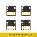 Чипы для HP OfficeJet Pro 8210, 8710, 7740, 7720, 7730, 8720, 8730, 8725, 8218, 8715, 8740 (совм. HP 953 / 957), совместимые, авто обнуляемые, комплект 4 цвета, версия 12, работает со всеми прошивками