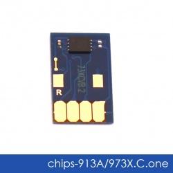 Чип для HP PageWide Pro 452dw, 477dw, 452dn, 477dn, 552dw, 577dw, 577z, P55250dw, P57750dw (совм. HP 913A, 973X Cyan голубой), одноразовый, увеличенный ресурс как 973X, работает с всеми прошивками