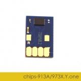 Чип для HP PageWide Pro 452dw, 477dw, 452dn, 477dn, 552dw, 577dw, 577z, P55250dw, P57750dw (совм. HP 913A, 973X Yellow желтый), одноразовый, увеличенный ресурс как 973X, работает с всеми прошивками
