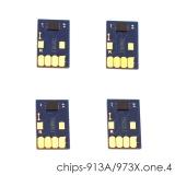 Чипы для HP PageWide P55250dw, P57750dw (совм. 973X), одноразовые, увеличенный ресурс как 973X, комплект 4 цвета, не требуют отката прошивки, работают с всеми прошивками