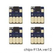Чипы для HP PageWide 352dw J6U57B, 377dw J9V80B, Pro 452dw, 477dw, 452dn, 477dn, 552dw, 577dw, 577z (совм. 913A L0R95A, F6T77AE, F6T78AE, F6T79AE), авто обнуляемые, увеличенный ресурс как 973X, комплект 4 цвета, версия 12, работает с всеми прошивками