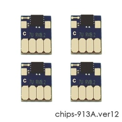 Чипы для HP PageWide P55250dw, P57750dw (совм. 913A L0R95A, F6T77AE, F6T78AE, F6T79AE), авто обнуляемые, увеличенный ресурс как 973X, комплект 4 цвета, версия 12, работает с всеми прошивками