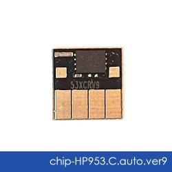 Чип для HP OfficeJet Pro 8210, 8710, 7740, 7720, 7730, 8720, 8730, 8725, 8218, 8715, 8740 (совм. HP 953, F6U12AE, F6U16AE), совместимый, авто обнуляемый, голубой Cyan, версия 9, работает с прошивкой 2006, 2007