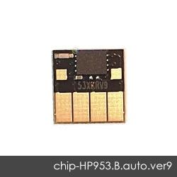 Чип для HP OfficeJet Pro 8210, 8710, 7740, 7720, 7730, 8720, 8730, 8725, 8218, 8715, 8740 (совм. HP 953, 957, L0S58AE, L0S70AE, L0R40AE), совместимый, авто обнуляемый, чёрный Black, версия 9, работает с прошивкой 2006, 2007