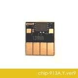 Чип для HP PageWide 352dw J6U57B, 377dw J9V80B, Pro 452dw, 477dw, 452dn, 477dn, 552dw, 577dw, 577z, P55250dw, P57750dw (совм. 913A F6T79AE), автоматически обнуляемый, увеличенный ресурс как 973X XL, жёлтый Yellow, версия 9