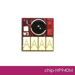 Чип для HP Officejet Pro 8000, 8500, 8500A (для картриджей 940, совместимых ПЗК и СНПЧ), Magenta, пурпурный (красный, розовый)